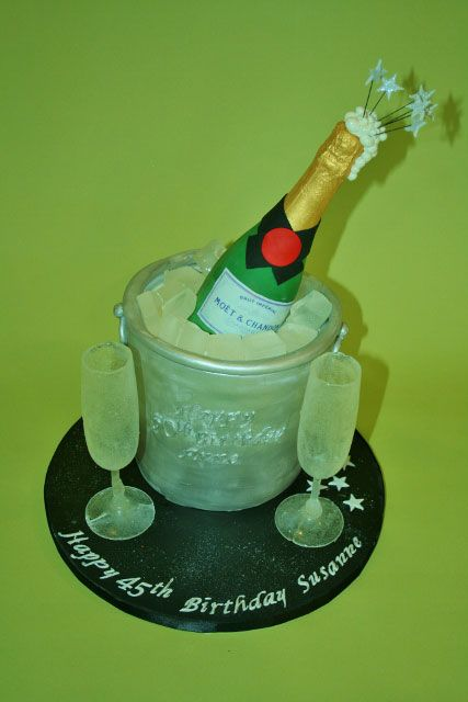 3d Champagne Bucket Cake Cakes Pinterest Nyc