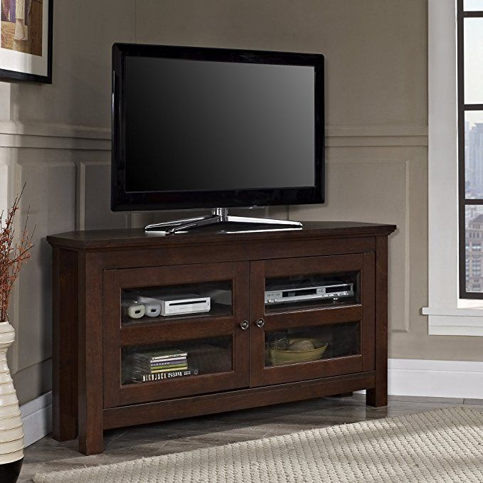 Walker Edison 44 Cordoba Corner Tv Stand Console Brown As An Amazon Associate I Earn From Quali Wood Corner Tv Stand Corner Tv Console Black Corner Tv Stand