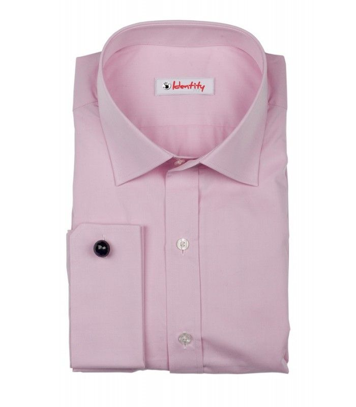 Camasa cu maneca lunga roz cu butoni