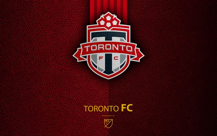 3d2ff857e Download wallpapers Toronto FC, 4k, Canadian soccer club, MLS, leather  texture, logo, emblem, Major League Soccer, Toronto, Canada, football, ...
