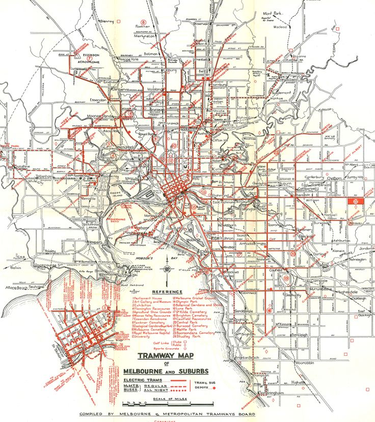 This map from the Melbourne and Metropolitan Tramways Board, Report and Statement of Accounts for the Year ended 30th June 1950, shows how extensive Melbourne's tram network was in the immediate post-war era.   By this stage, cable trams had been phased out and the MMTB also operated some bus routes.