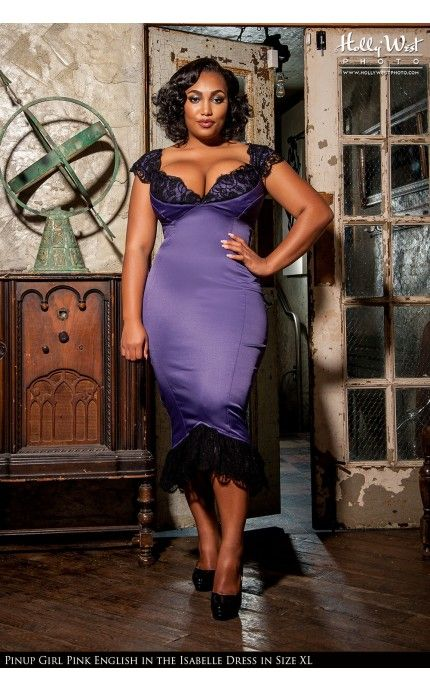 Laura Byrnes California- Isabelle Dress in Purple - Plus Size | Pinup Girl Clothing