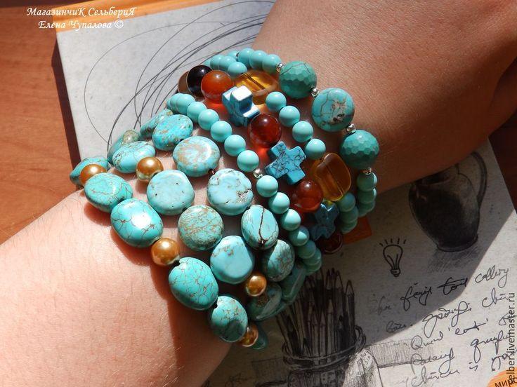 """Купить Набор браслетов """"Восточное настроение"""" - бирюзовый, набор браслетов, браслеты, эластичные браслеты"""