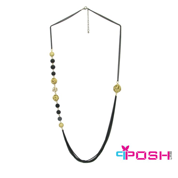 Sonia - Chains with non symetrical beauty Necklace - black and Gold colour  - Dimensions: 85cm + 5cm extending chain $45 #necklace #jewelry