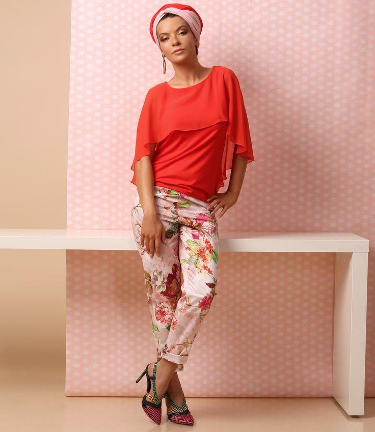 Feel the summer, love the colors SUMMER 17 | YOKKO #pants #floralprints #redorange #top #veil #cotton #fashion #style #beauty #yokko #women