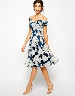 Fall Wedding guest look: Chi Chi London Printed Organza Midi Dress with Bardot Neck
