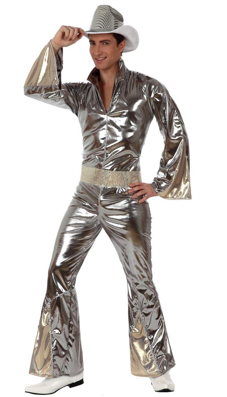 Discopak voor mannen: Dit discokostuum voor mannen bestaat uit een wit pak en een riem (Schoenen en hoed niet inbegrepen). Zilverkleurig pak in elastische stof. De uiteinden zijn wijd en dankzij de ritssluiting op de rug...