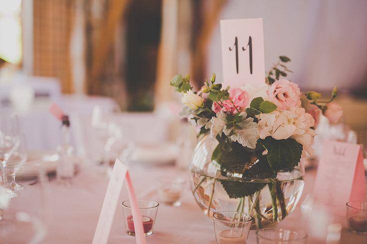 Pink wedding centerpiece made by Enchantée