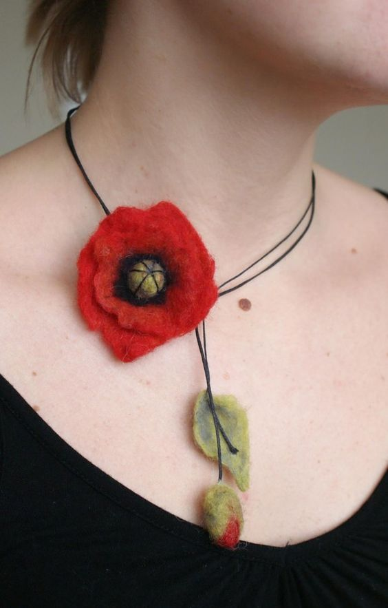 Felted cute poppy as your necklace by KoloBolo on Etsy, $16.00: