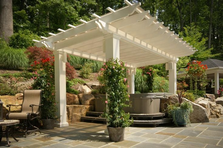 porch with pergola and corrugated roof
