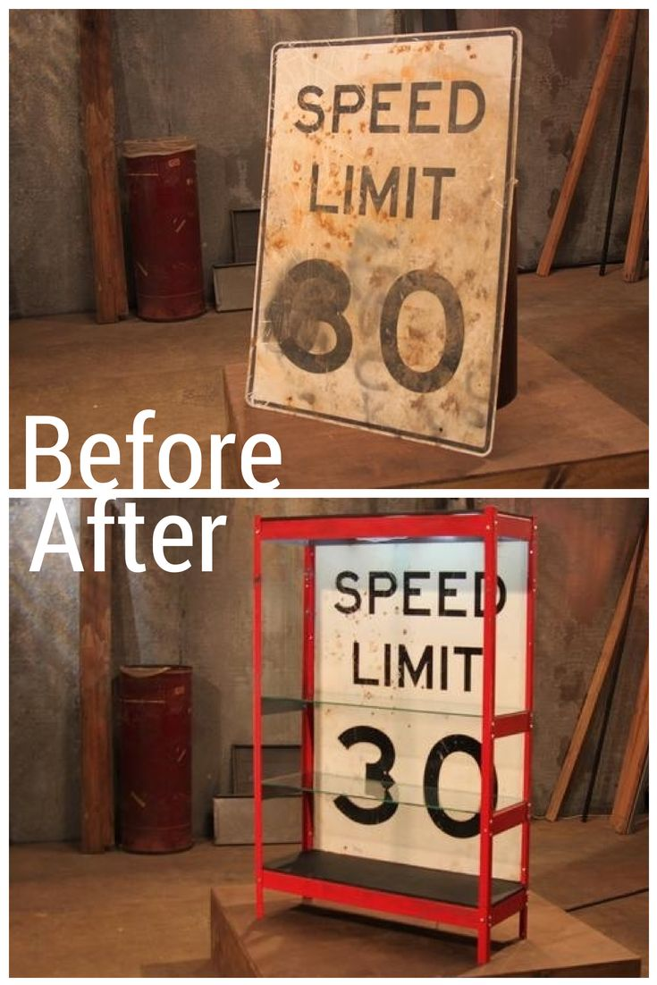 A dirty SPEED LIMIT sign needs a little dusting up to become a stand-out shelving unit.