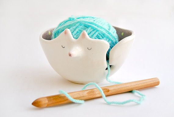 Ceramic Fox Yarn Bowl Decorated in Violet with von Barruntando