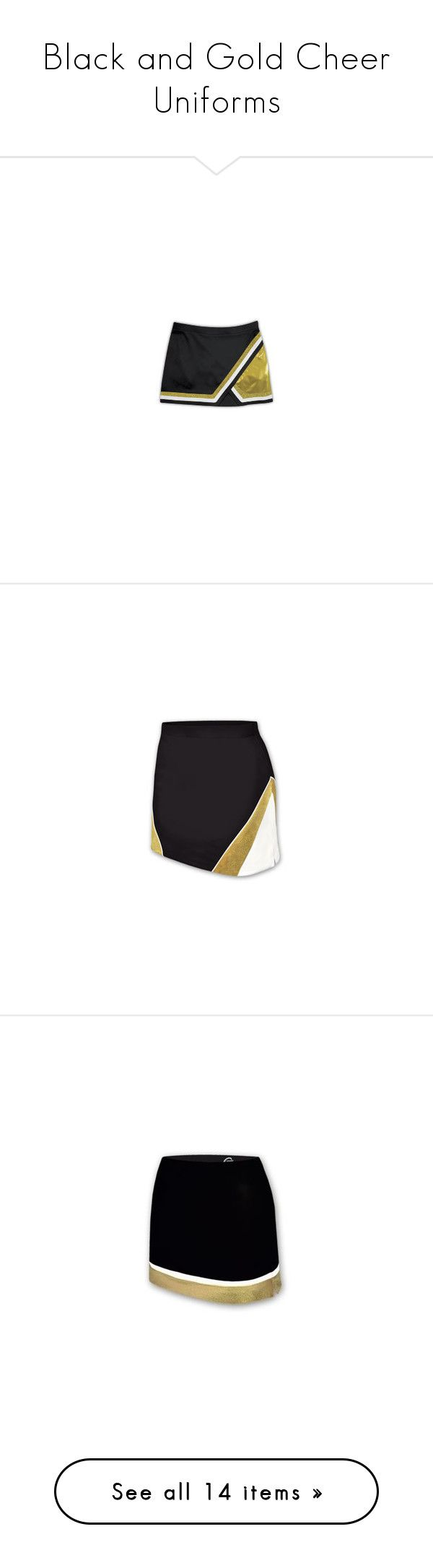 """""""Black and Gold Cheer Uniforms"""" by galacticpeanut ❤ liked on Polyvore featuring skirts, cheerleading, cheer, sports, sports skirts, metallic skirt, a-line skirt, metallic a line skirt, knee length a line skirt and cheer uniforms"""