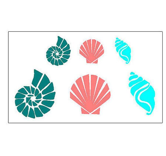 Large and Small Sea Shell Beach Decor Plastic by stencilsnstencils