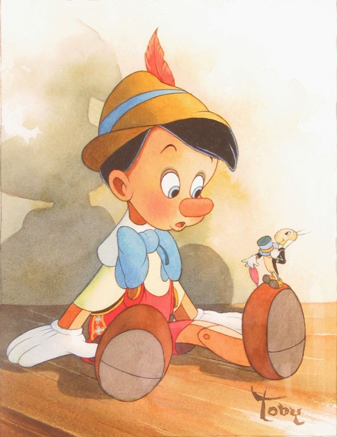 Pinocchio & Jiminy Cricket - Disney Fine Art