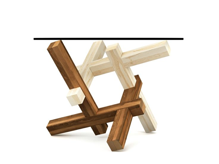 2x3 puzzle coffee table - set up 3 - (Special Edition collection) The collection is inspired by the common approach of making the different types of elements using different types of wood often used by burr puzzle makers. This stylistics emphasizes the tectonics of the structure, unveiling a little bit of the hidden assembly principle. This sensation is even stronger when using very contrast types of wood textures, from almost white to almost black, together with more colorful types.