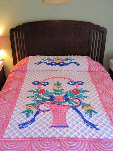 Colorful old basket of flowers chenille bedspread!