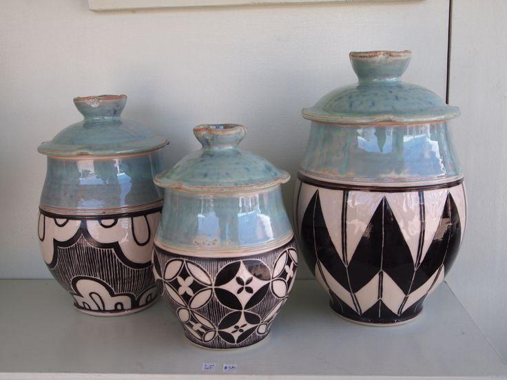 Sgrafitto ceramic canister set