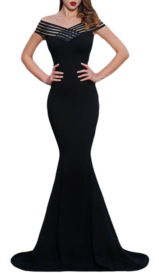Abito donna vestito lungo elegante sirena sexy senza maniche mitivo strisce  – V…