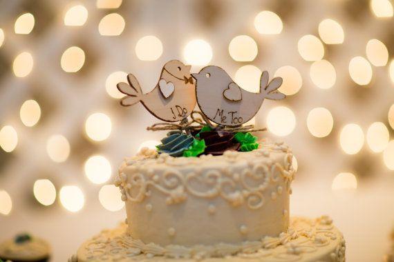 I Do MeToo / Bird Cake Topper / Rustic Cake by Melysweddings
