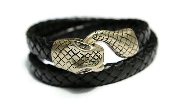 Snake Bracelet Black Serpent Ouroboros by PepperPotLeatherShop, $44.99
