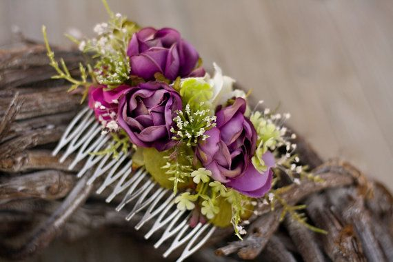 Flower hair comb floral hair comb by EvaFlowersDesigns on Etsy