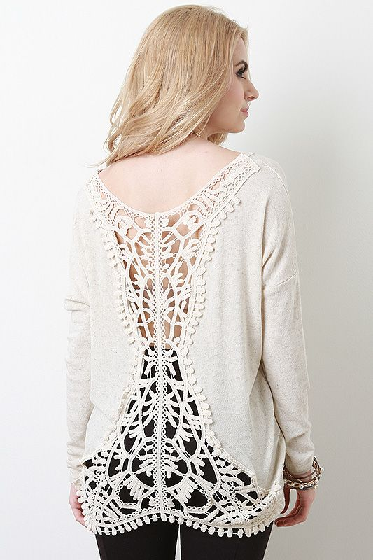 Embroidery Lace Back Top
