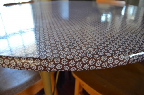 quick fix for a drab top...oilcloth!