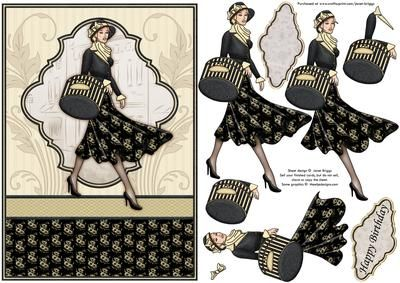 VINTAGE SHOPPING LADY in black Topper Decoupage on Craftsuprint designed by Janet Briggs - Vintage themed card front and 3d step by step decoupage, featuring elegant lady, shopping. Striking black and cream colour scheme.2 sentiment tags for layering, including one blank for your own greeting.The other reads,Happy BirthdaySuitable for any female birthday or Mother's Day card. - Now available for download!