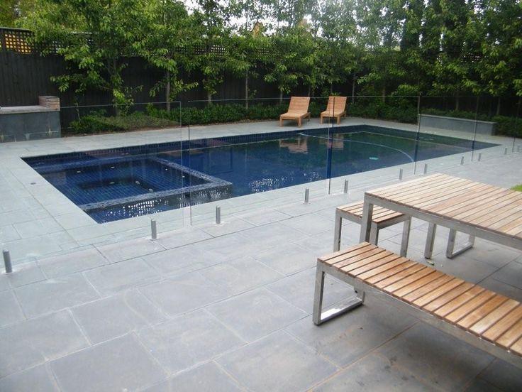 Runs close along side of pool, and larger space at the end