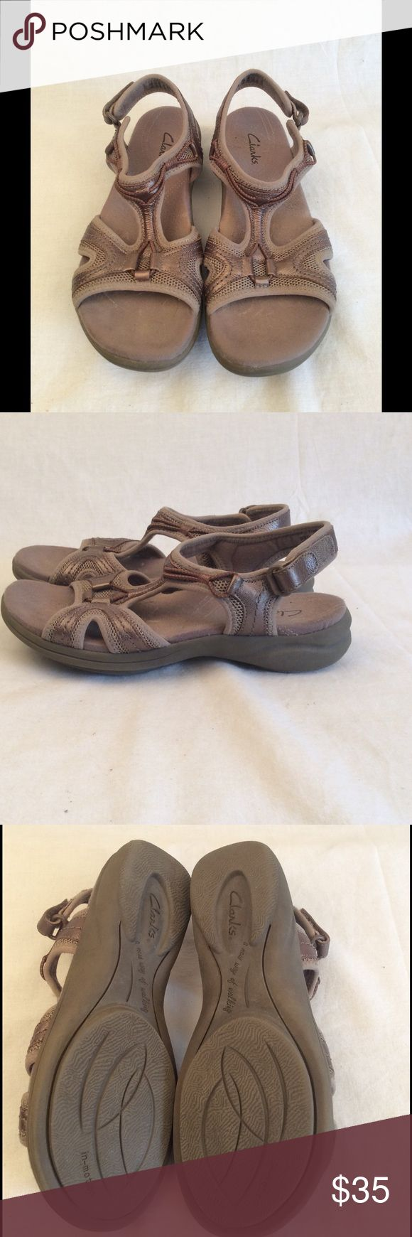 Women's Clarks Sandals Light metallic brown colored clarks sandals size 6.5, in great condition and comes from a smoke free home. ✅Reasonable offers considered ✅Bundle for a discount & save on shipping ✅Same/next day shipping available Clarks Shoes Sandals