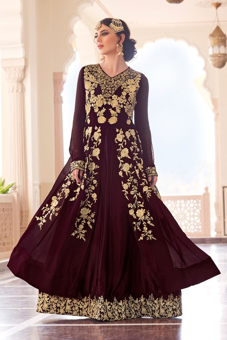 Maroon Designer Party Wear Georgette Anrkali Suit With Embroidary Work Begam Catalog  604