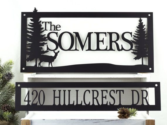 Name and Address Metal Sign | Deer | Address Sign | Family Name Sign | Metal Wall Art | House Number | Cabin Decor | Outdoor Sign | Sign