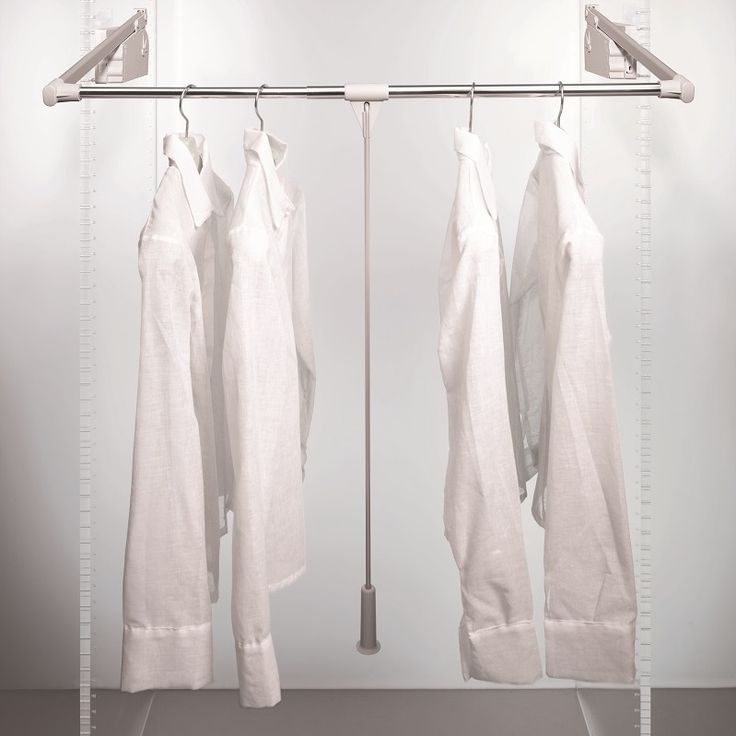 Ambos 500 Wardrobe Lift adjusts to suit cavity widths from 750mm to 1150mm.10 kg load capacity and a convenient pull out coat hanger rest to hold items while you dress.