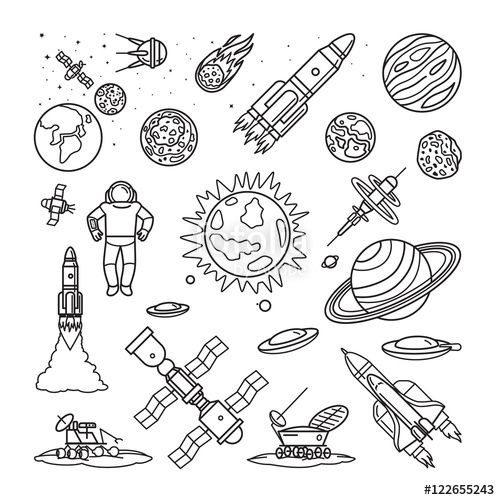 Vecteur : Space doodle linear icons. Vector planets, rockets, earth and astronaut cartoon hand drawn signs