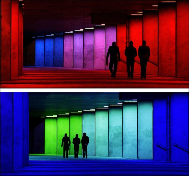 Color-changing hallway - Collonade, National Architecture Institute - Netherlands