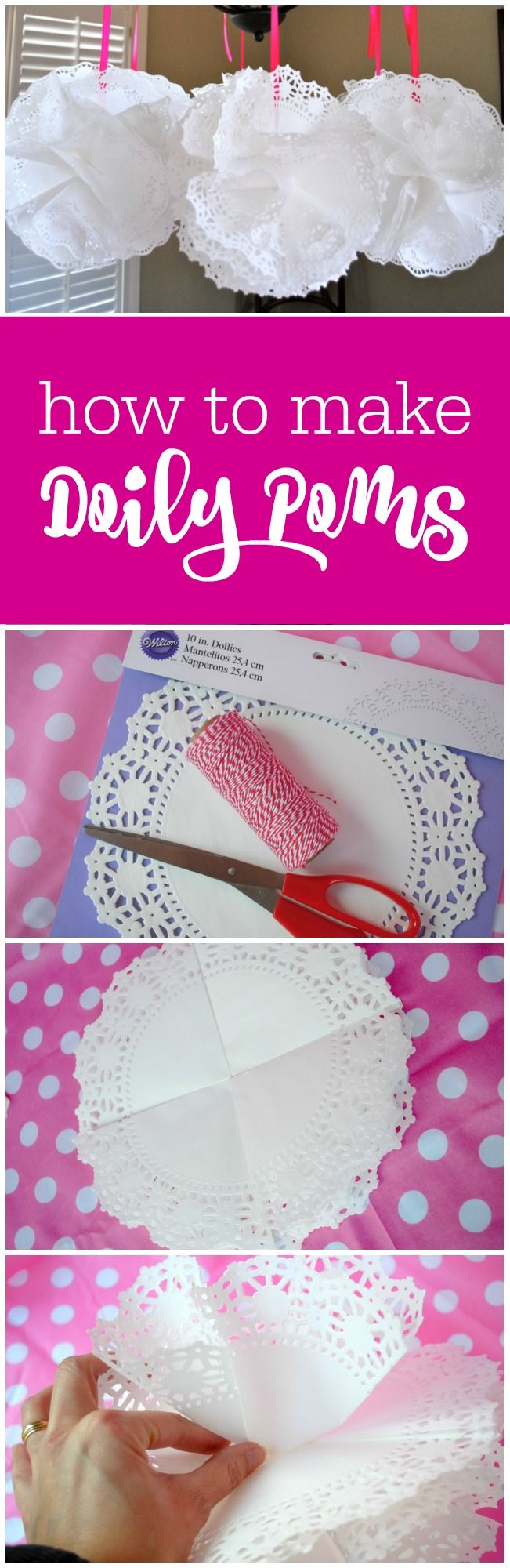 How to make doily poms - it's as easy as folding and hot gluing - The Party Teacher | http://thepartyteacher.com/2013/01/23/tutorial-paper-doily-poms/