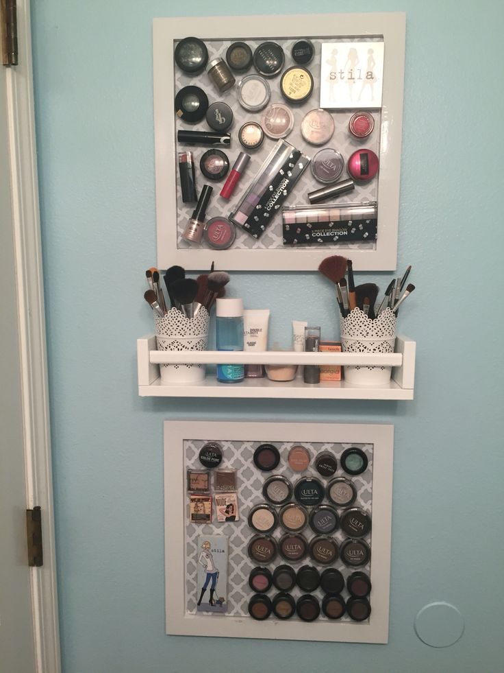 Magnetic makeup board w/shelf