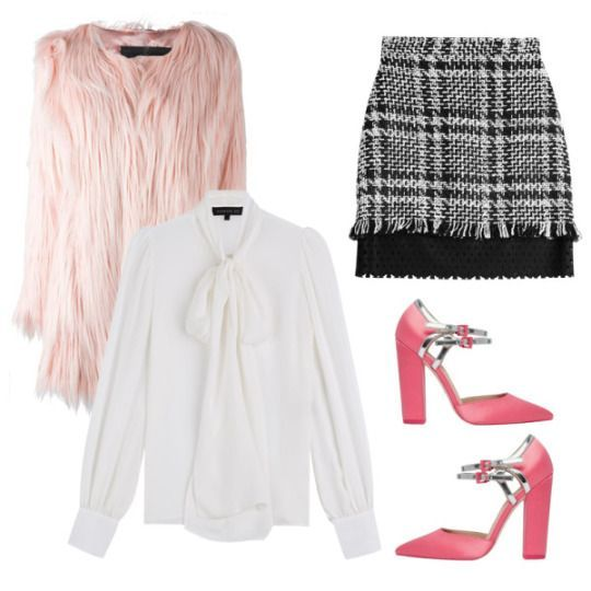Chanel from Scream Queens Halloween Costume Inspiration: Faux Gorilla Fur Jacket, Unreal Fur $432 Silk Blouse, Barbara Bui $515 Mini Skirt with Wool, MSGM $355 Pinpoint Pointed Heels, ASOS $81