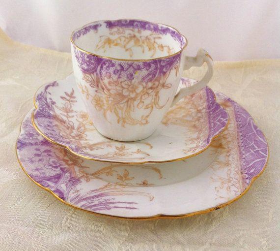 Antique Victorian Tea Trio, Wileman & Co Kensington pattern 5024