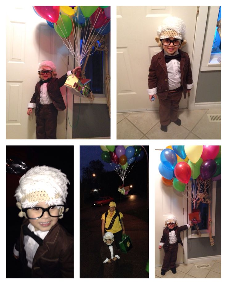 Mr.Fredricksen costume from the movie UP .. Complete with a house and balloons ! I dressed as Russell to match ;)