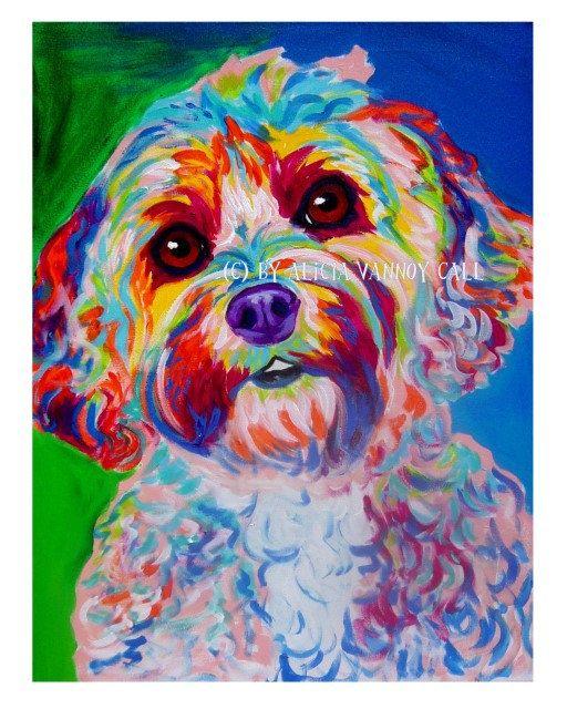 Colorful Pet Portrait Cockapoo Art Dog Print 8x10 By