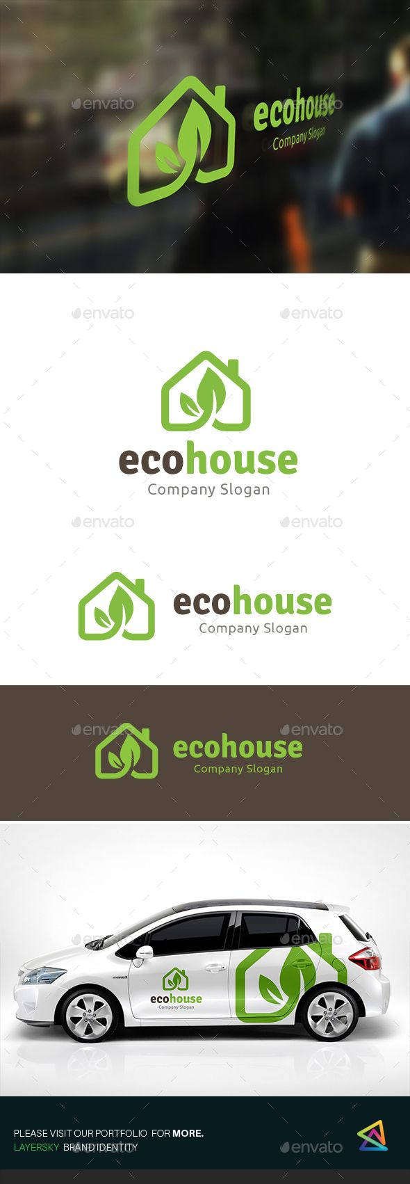 Eco House Logo Template PSD, Vector EPS, AI. Download here: http://graphicriver.net/item/eco-house/15541590?ref=ksioks