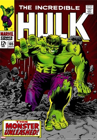 Marvel Comics Retro: The Incredible Hulk Comic Book Cover #105 Stretched Canvas Print