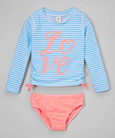 Look what I found on #zulily! Coral & Blue Stripe 'Love' Rashguard Set - Toddler & Girls #zulilyfinds