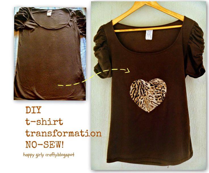 happy girly crafty: DIY no-sew t-shirt transformation!