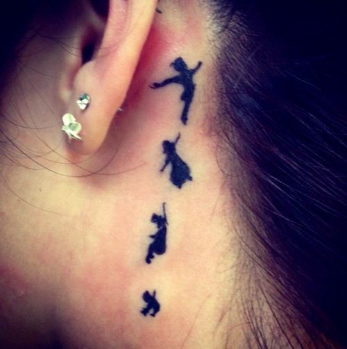 Peter Pan tattoo | behind the ear tattoo | cute tattoos |