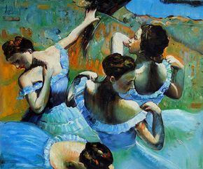 one year one painting a day: Edgar Degas and Dancers in Blue