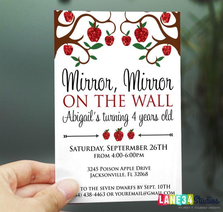 Birthday Invitation | Poison Apple Snow White Princess Birthday Invitation Printable DIY No. I187 by Lane34Party on Etsy https://www.etsy.com/listing/199487150/birthday-invitation-poison-apple-snow