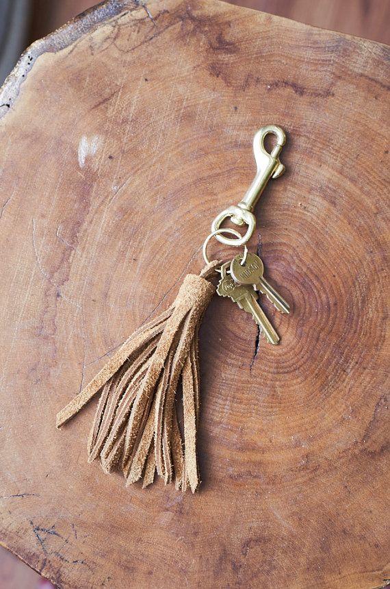 Leather tassel key chain! Handmade! on Etsy, $13.00